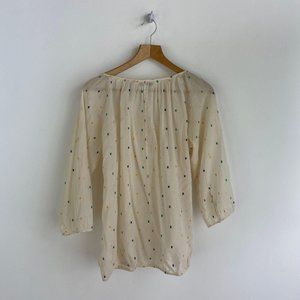 J.CREW 100% Cotton Cream Sheer Dotted Blouse
